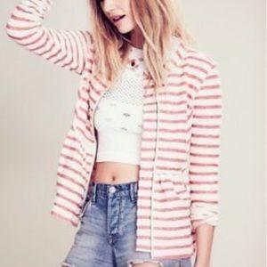 FREE PEOPLE   Jacket Peplum White Red Stripe XS